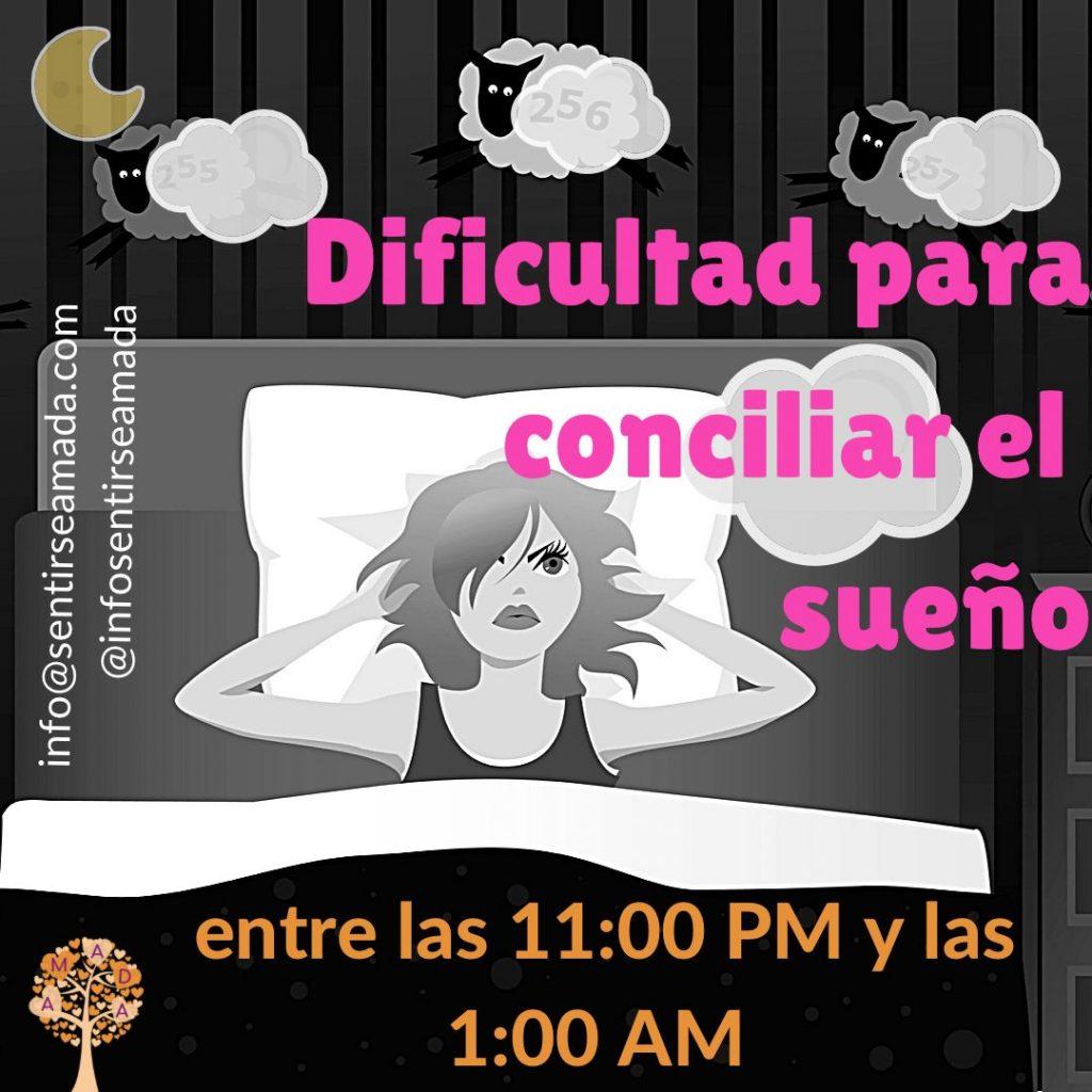 dificultad sueño 11 pm a 1 am